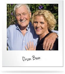 Happy old couple with text Orson Bean