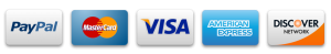 logo of Paypal, MasterCard, Visa, American Express and Discover Network